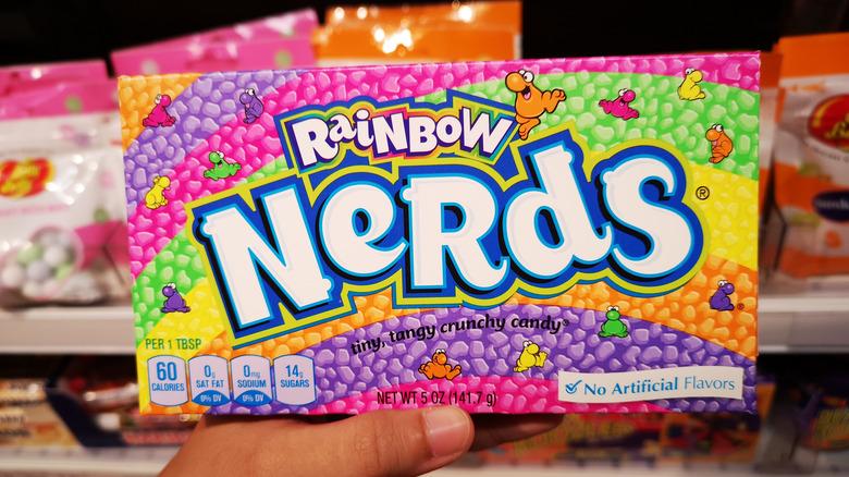 Hand holding box of Rainbow Nerds