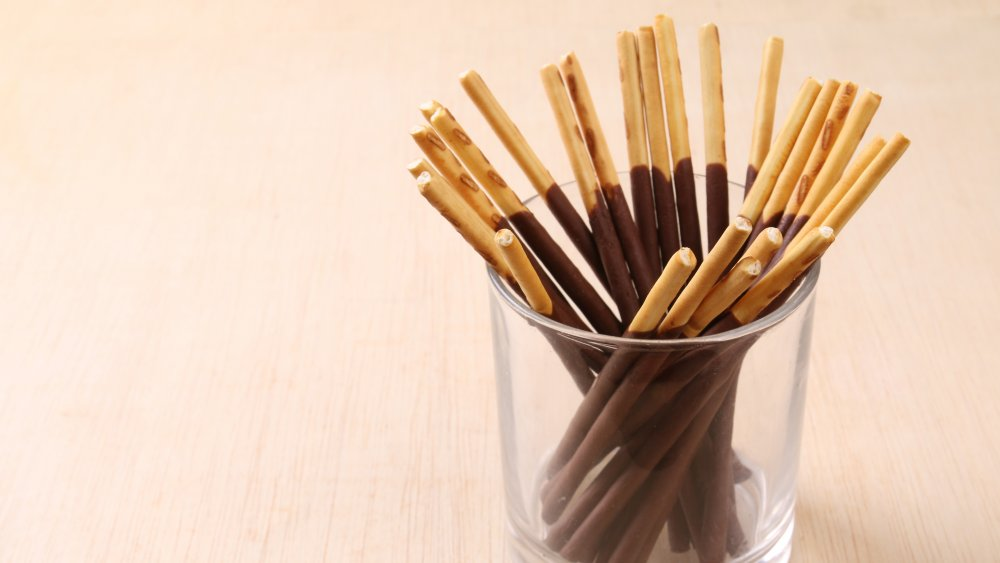 Chocolate Pocky in a glass cup