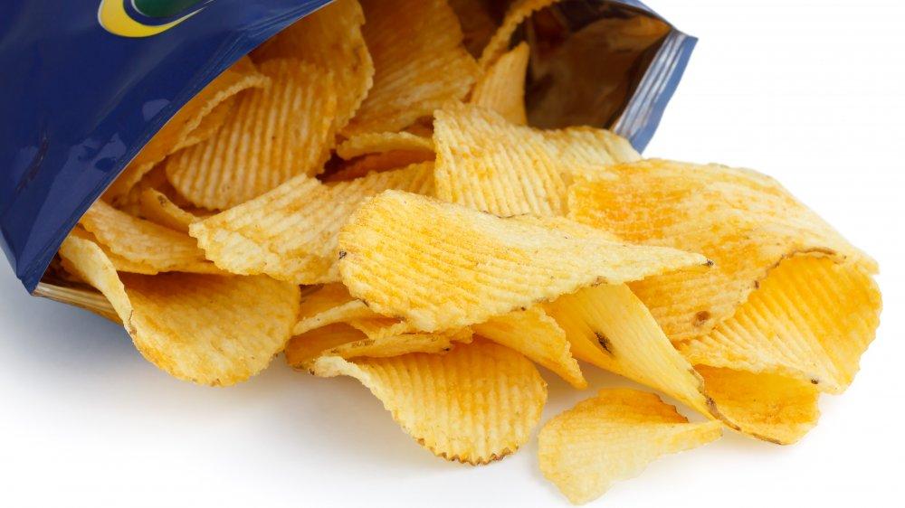 Open bag of Ruffles potato chips