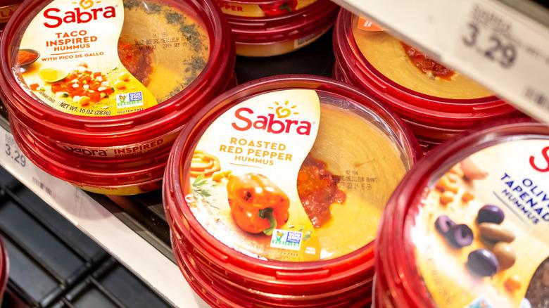 Sabra hummus in fridge section