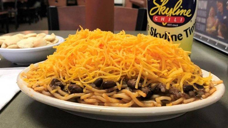 Skyline Chili spaghetti and coneys