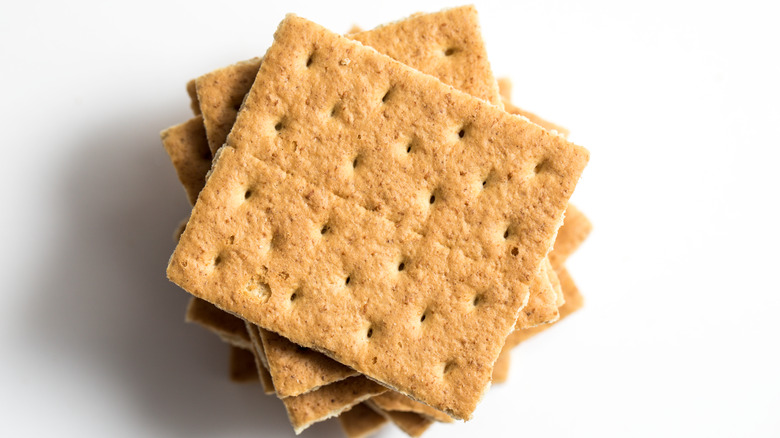Stacked graham crackers on white background