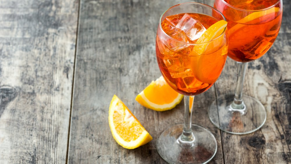 Aperol spritzes on a table