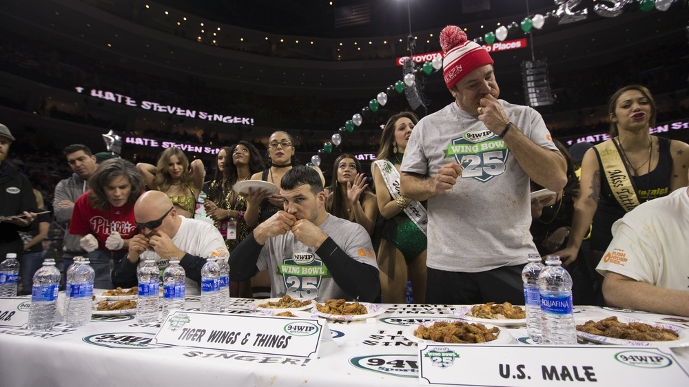 Contestants eating at the Philadelphia Wing Bowl