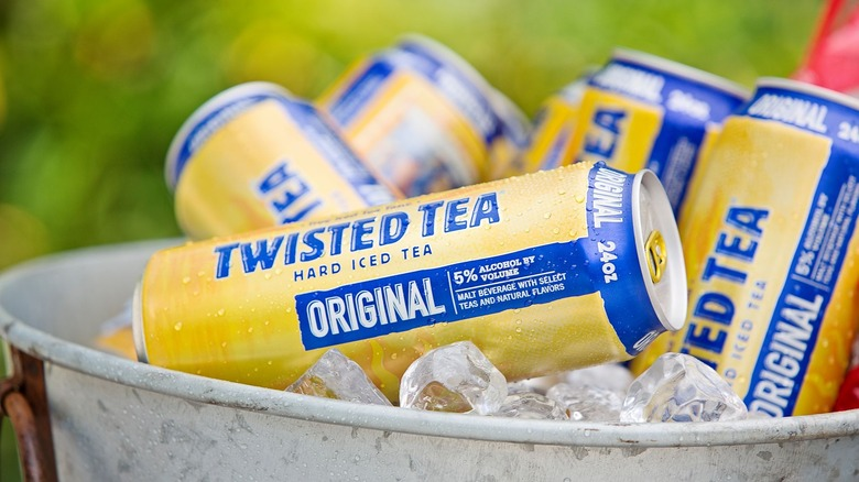 Cans of Twisted Tea in ice bucket