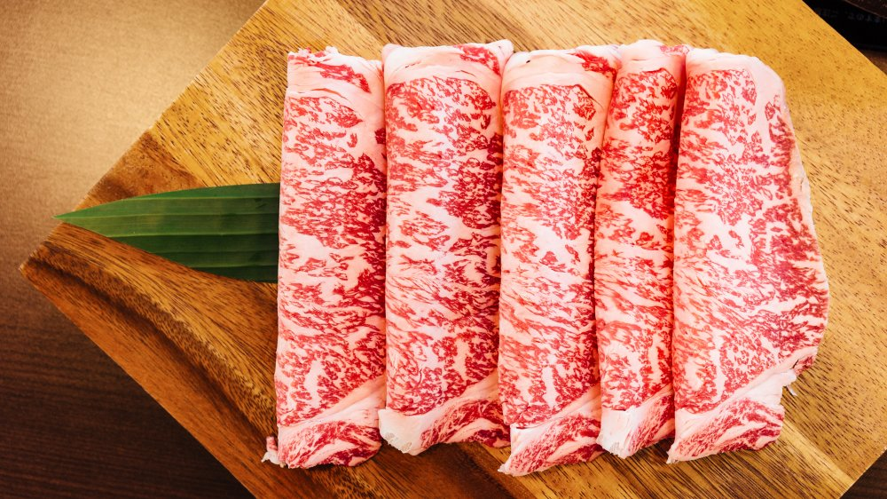 Slices of Wagyu beef