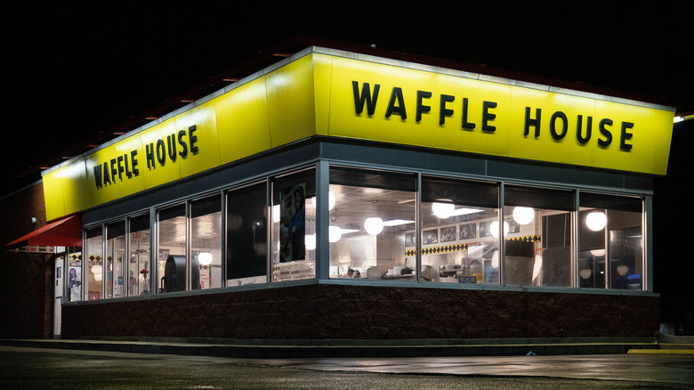 Waffle House exterior at night