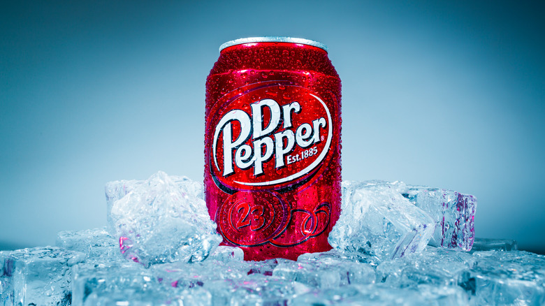 Can of Dr. Pepper on ice