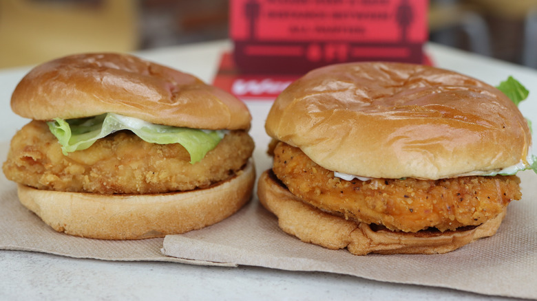 Two of Wendy's chicken sandwiches