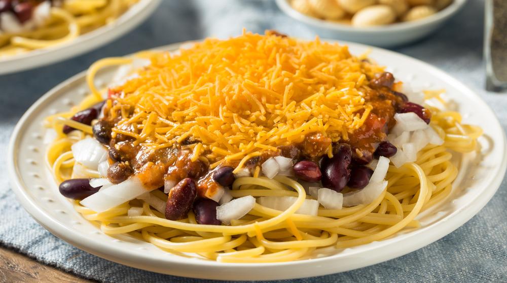 Skyline Chili served over spaghetti
