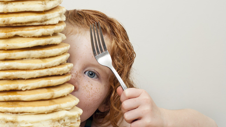 pancakes and a redhead child