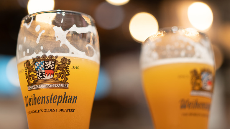 pints of Weihenstephan beer