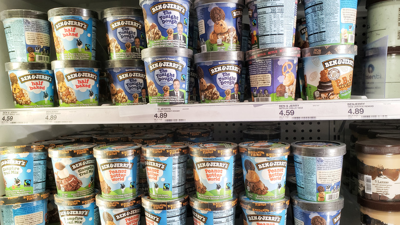 Ben & Jerry's pints in freezer section at store