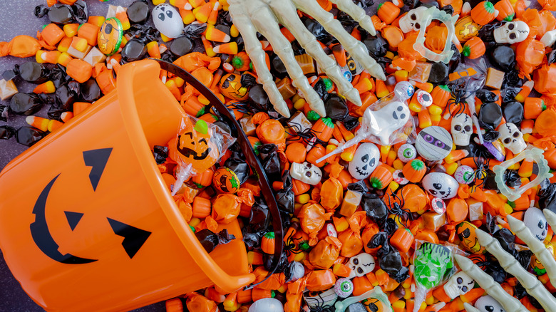 Candy with skeleton hands