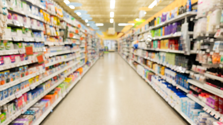 Grocery story aisle with products