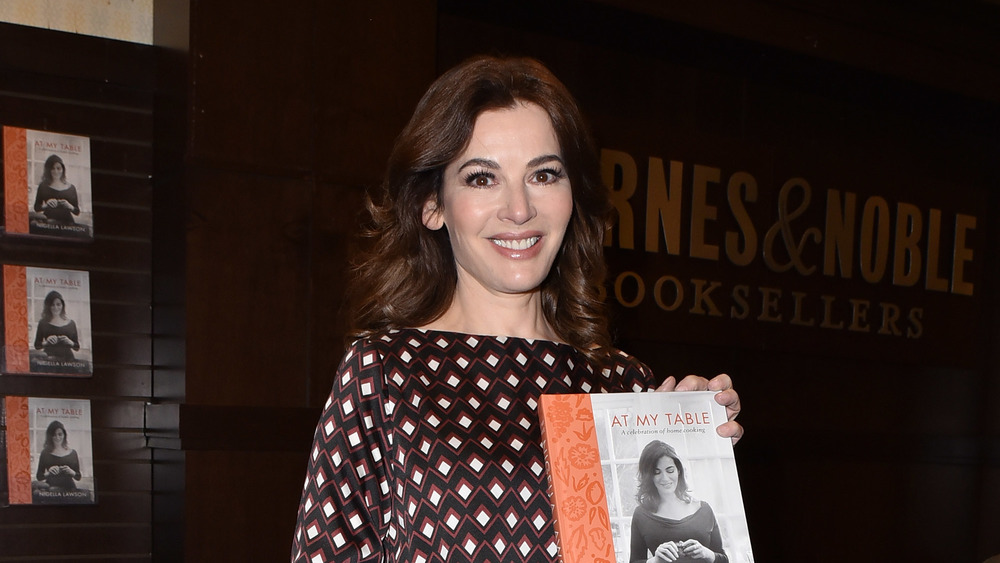 """Nigella Lawson with her book """"At My Table"""""""