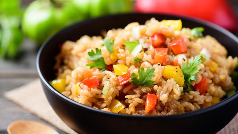 Fried rice in black bowl