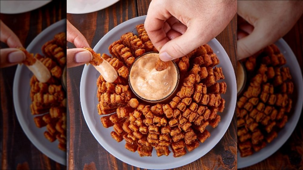 Outback bloomin onion at chain restaurant