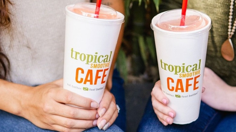 Tropical Smoothie Cafe smoothies in cups