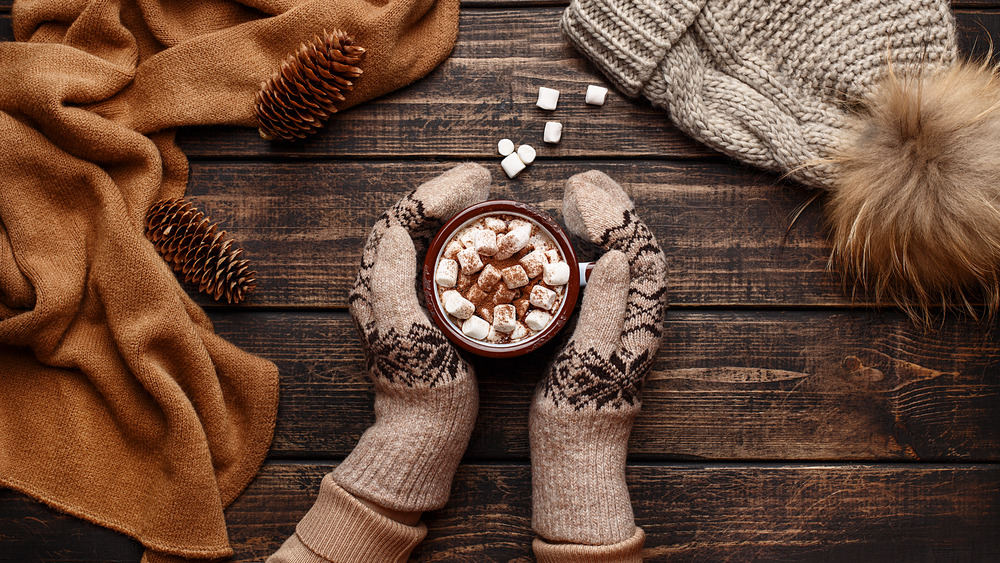 two hands around a cup of hot cocoa