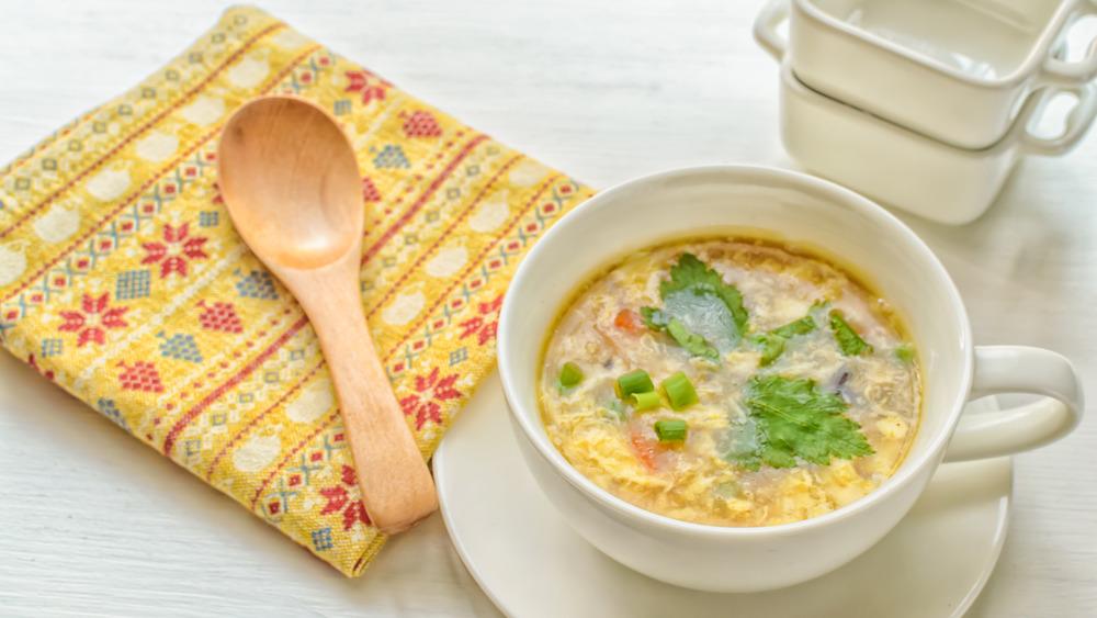 Egg drop soup in a white bowl