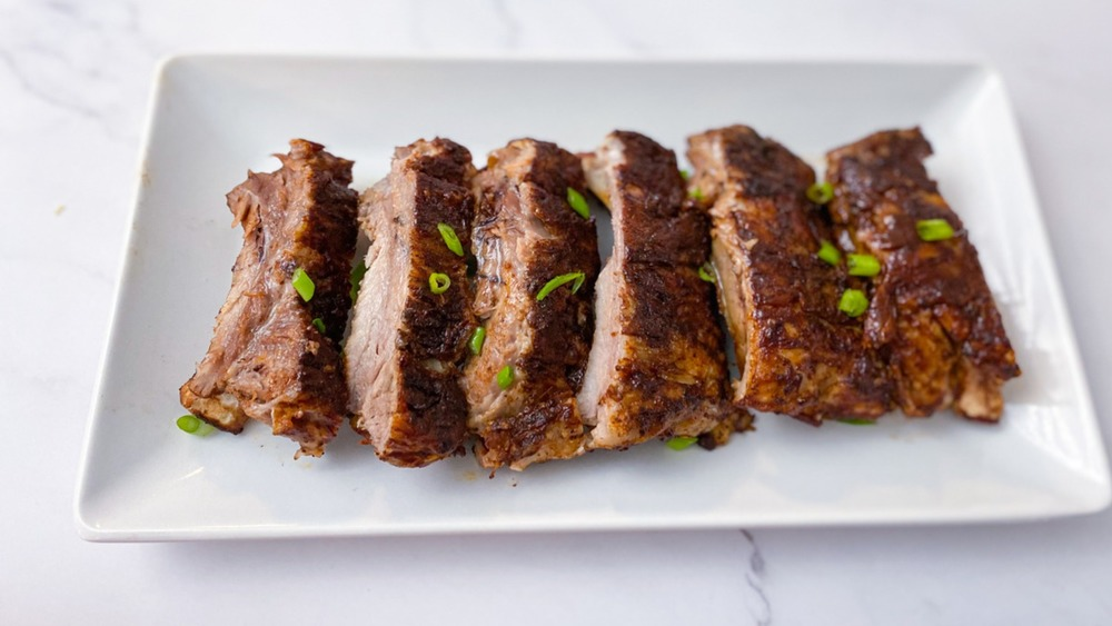 Instant Pot ribs garnished with green onion
