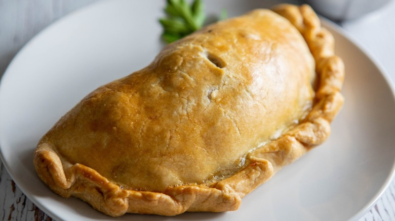 pasties on white plate