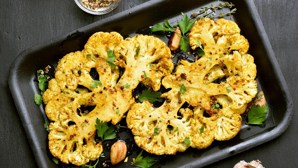 pan of roasted cauliflower