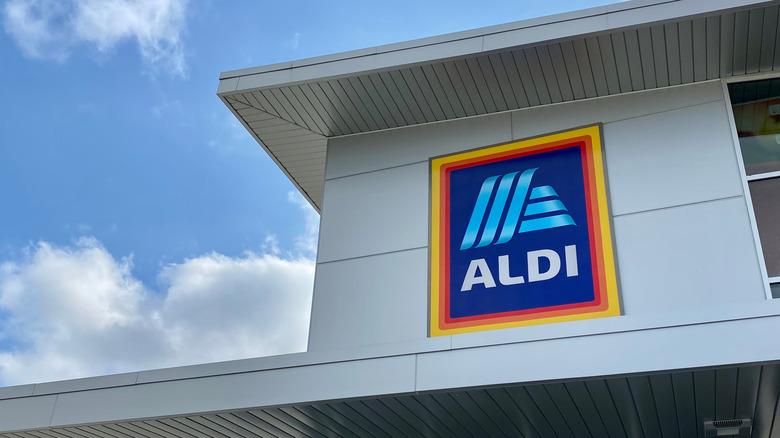 exterior of aldi store with aldi sign