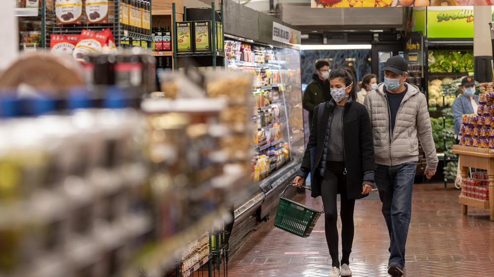 Masked supermarket shoppers