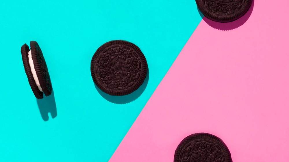 Oreos on a blue and pink background