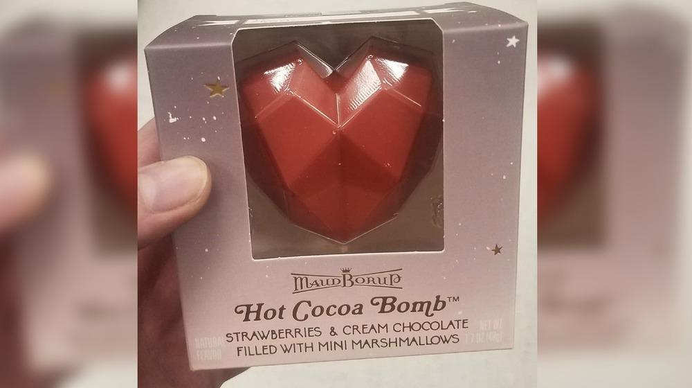 Strawberries and cream Valentine's Day hot cocoa bomb