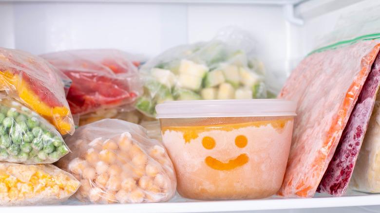 Frozen goods stored in a freezer