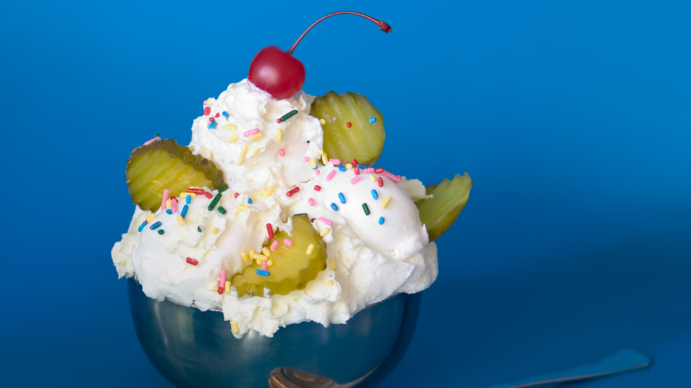 Ice cream sundae with pickles