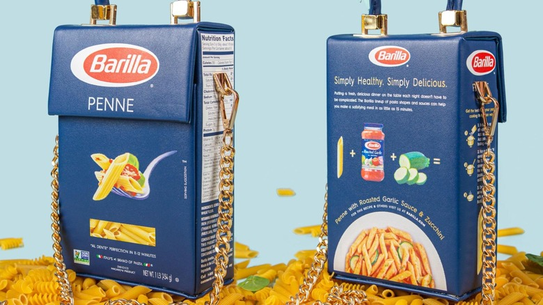 The Barilla pasta box inspired handbag