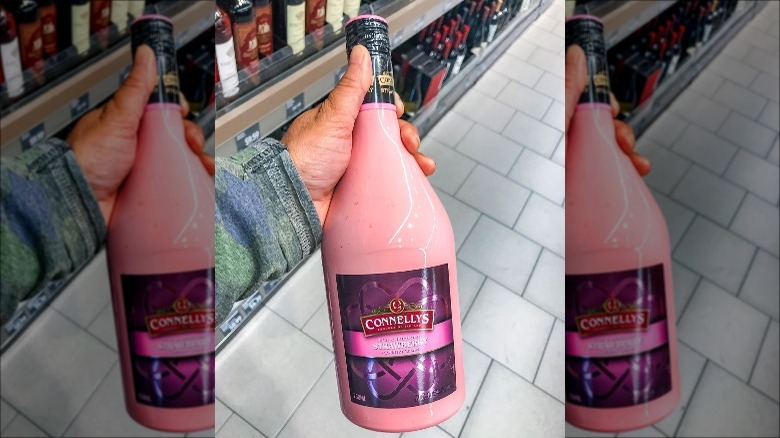 A bottle of Aldi's Connellys Strawberry Country Cream