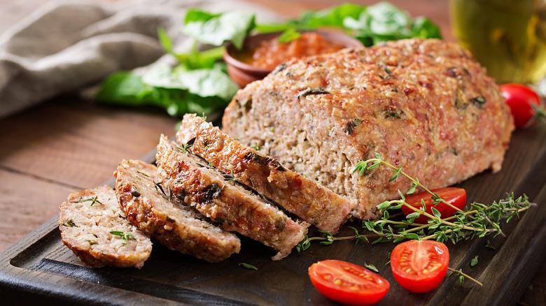 Meatloaf on a serving platter