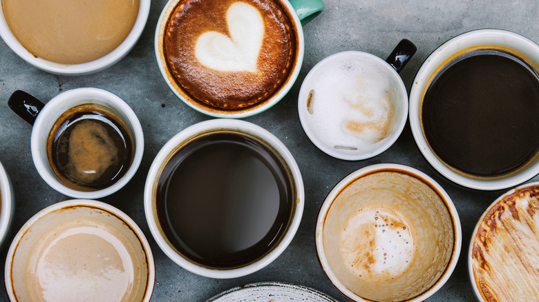 various cups of different coffees