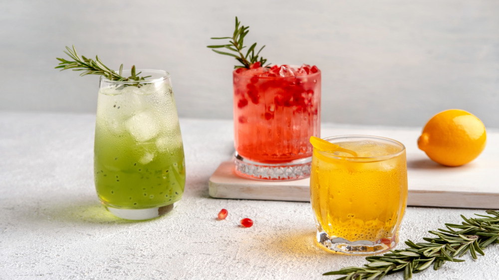 Mix of cocktails on countertop