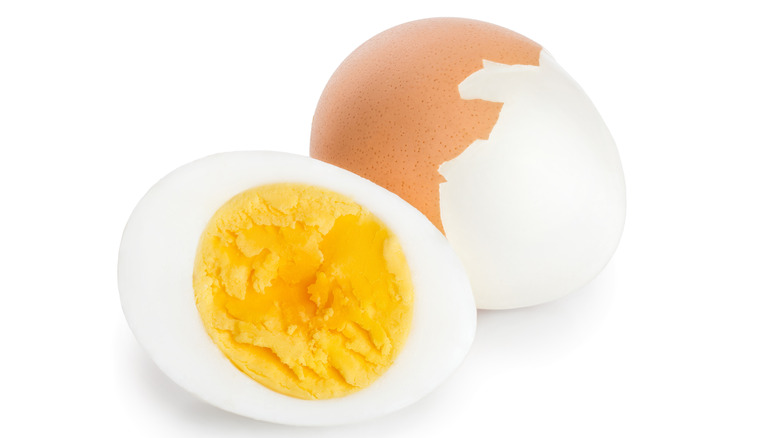 partially peeled boiled egg