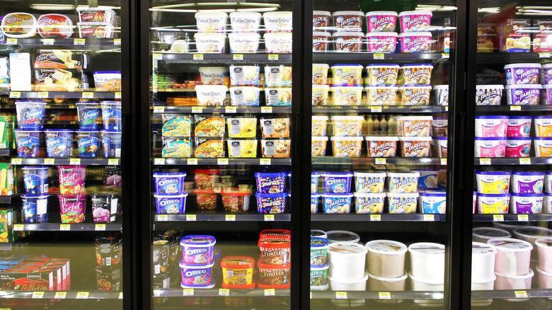 Ice cream aisle at supermarket