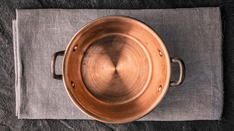 Copper pan from above
