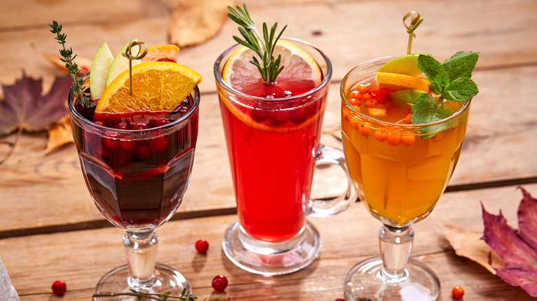 three different kinds of mulled wine