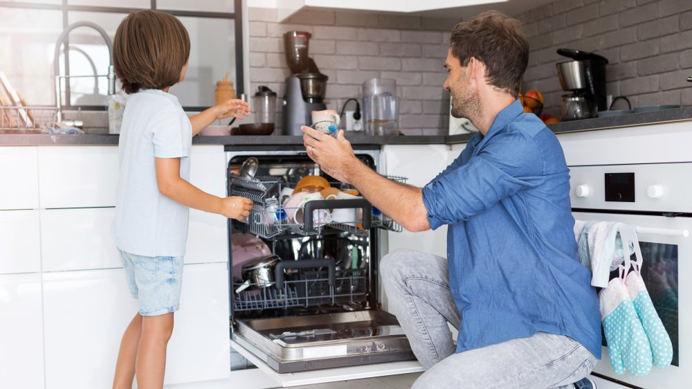 Father and son doing the dishes