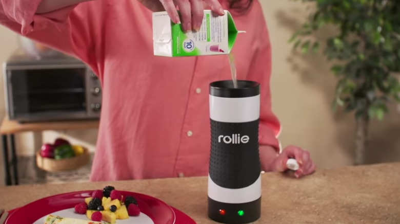 Pouring egg into Rollie Eggmaster