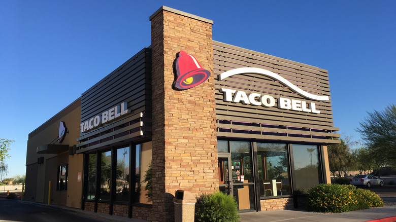 Outside of a Taco Bell