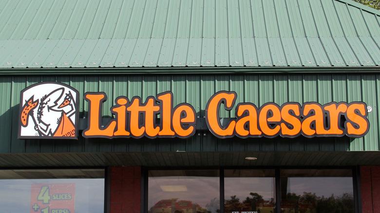 Little Caesars logo on green roof