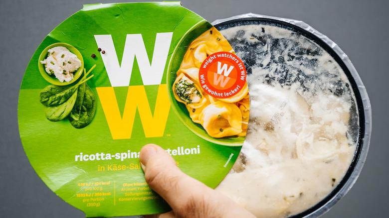 Weight Watchers frozen meal in plastic bowl