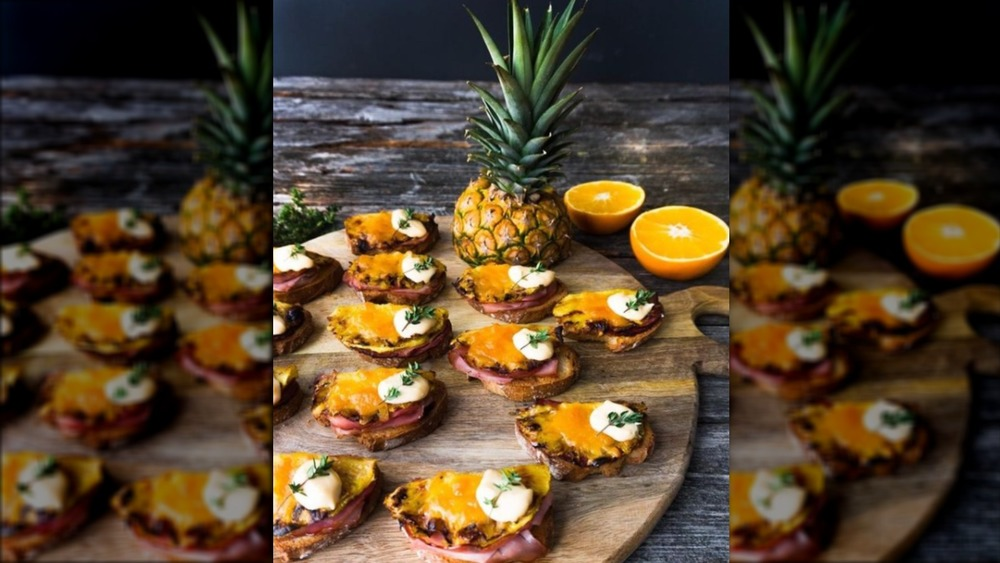 Toast Hawaii appetizers with a pineapple
