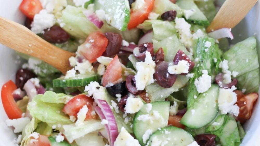 Greek salad served
